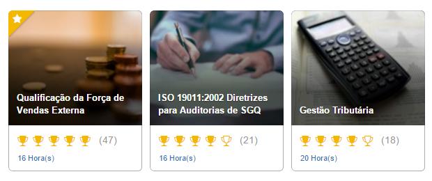 Exemplo de cursos disponíveis