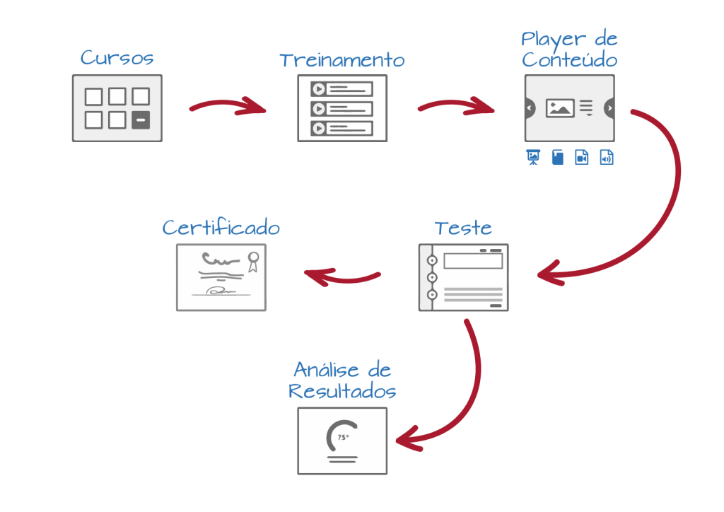 Cursos -> Treinamento -> Player de Conteúdo -> Teste -> Análise de Resultados