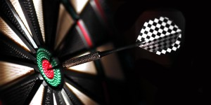 One arrow in the centre of a dart board