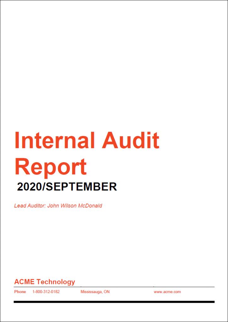 Internal audit template